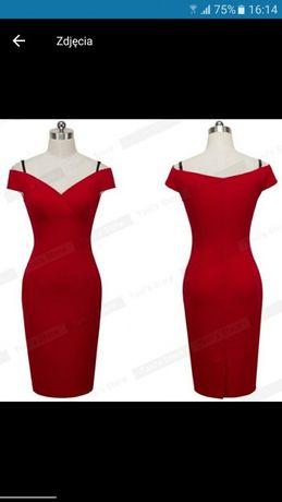 Nowa sukienka z odkrytymi ramionami czerwona hiszpanka s
