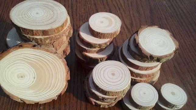 Plastry drewna,szlifowane 120 sztuk 3-10 cm, 50/100cm,krążki drewniane