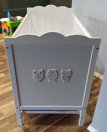 Łóżeczko Klupś Marsell białe Sówki 60x120 + materac gratis