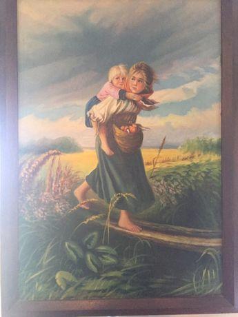 """Продам старинную картину -""""дети бегущие от грозы"""""""