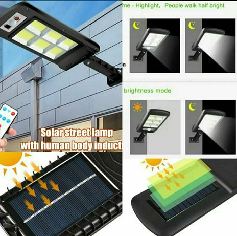 Lampa solarna 120 COB LED PILOT Czujniki ruchu