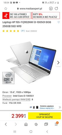 Nowy Laptop HP 15S-FQ1102NW i3-1005G1 8GB