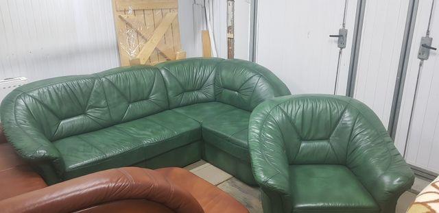 Narożnik skórzany kanapa sofa funkcja spania rogówka skóra jak nowa