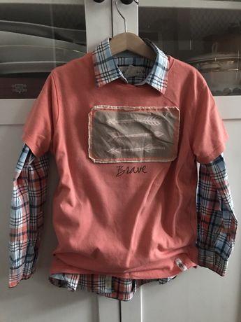 Zara t-shirt r. 128 łososiowy