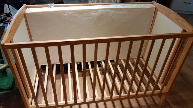 łóżeczko dziecięce drewniane 60x120