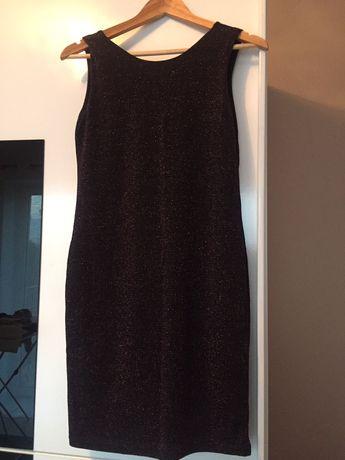 Sukienka Reserved mała czarna koktajlowa ołówkowa błyszcząca roz. 36