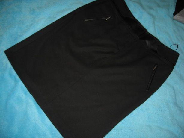 elegancka czarna spódnica per una XXL 44 wst.skórzane kieszenie