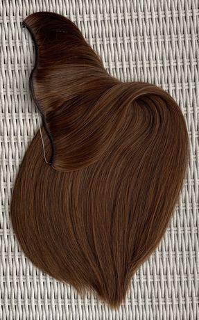 Włosy doczepiane, jasny brąz, flip in, hairband