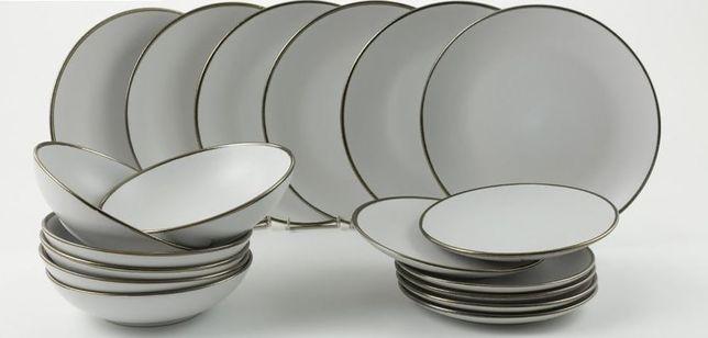 Villa d'Este Home 18-częściowy zestaw obiadowy biały z randem