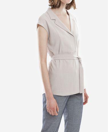 Solar beżowa elegancka bluzka z paskiem dekolt massimo dutti