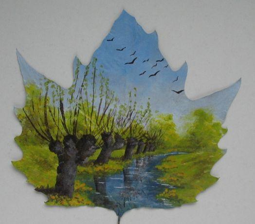 Obrazek pejzaż na prawdziwym ususzonym liściu wiosna wierzby strumien