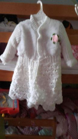 ubranko do chrztu r 68 dziewczynka robione na drutach