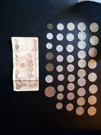 Stare monety i banknot mix 1 zł 50 gr 20 gr i 10 gr 100 zł i 40 sztuk