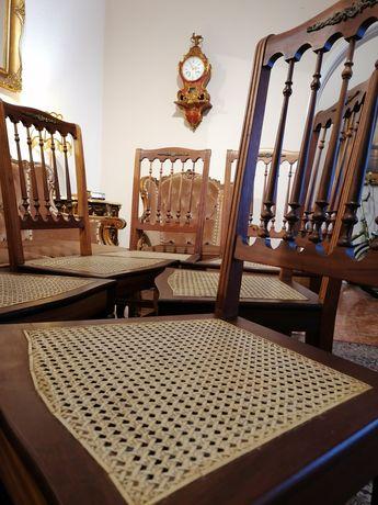 Conjunto 6 seis Cadeiras Império, Mogno Palhinha, Bronzes, tipo Inglês