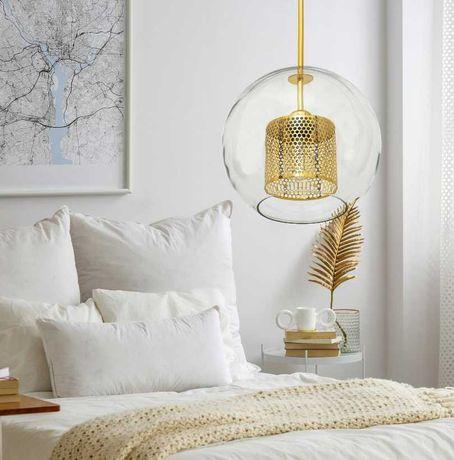 LAMPA wisząca sufitowa szklana ZŁOTA LOFT
