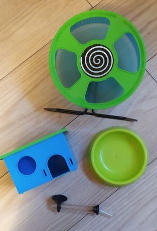 Kołowrotek Trixie 20 cm +  domek + poidełko +miseczka