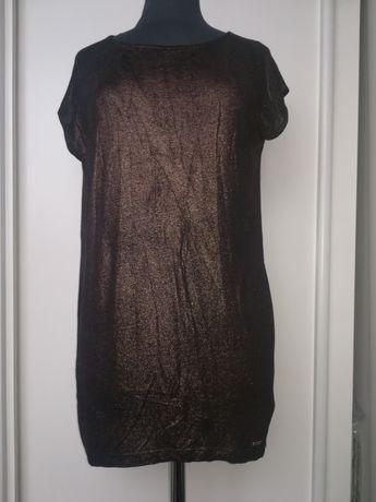 Długa czarna metaliczna złota bluzka tunika s