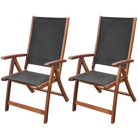 vidaXL Cadeiras de jardim dobráveis 2 pcs acácia maciça e textilene 41747