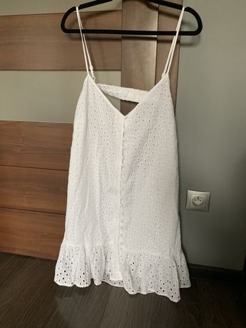 Nowa biała ażurowa rozkloszowana sukienka Asos