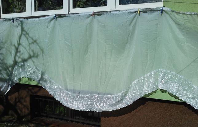 firanka biała-fala/szyfon; woal cieniowany- na szerokie okno