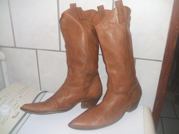 buty kowbojki damskie 41 brązowe skórzane .skóra damskie ostre czuby