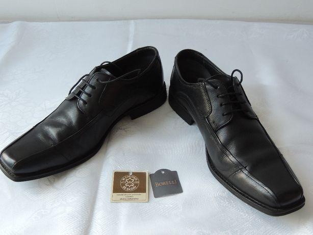Półbuty buty męskie Borelli skóra 100% czarne 3x założone rozm. 42