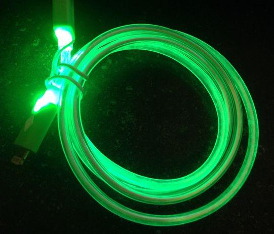 Cabo micro USB led com luz verde carregador sincronização de dados
