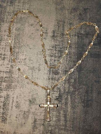 Серебряный жгут с крестом