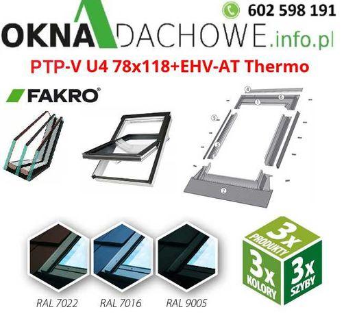 Okno okna dachowe FAKRO model PTP-V U4 78x118 ANTRACYT 7016