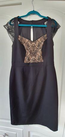 Elegancka koktajlowa czarna sukienka r.38