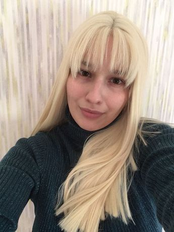 Парик блонд, термоволокно, волосы, парик блондинки, парик с челкой