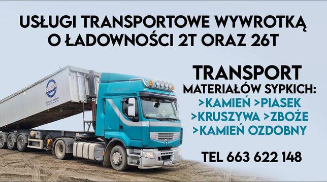 Transport wywrotką 2t oraz 26t