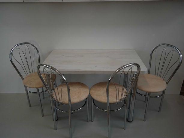 Stół kuchenny stół z krzesłami venus craft biały