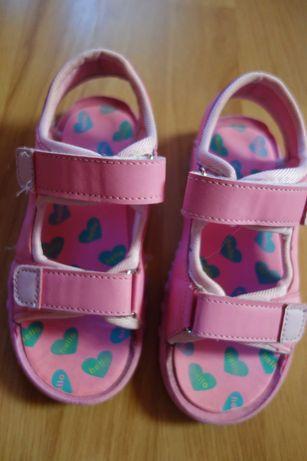 Sandałki rożowe na rzepy 30 wkładka 19,5cm