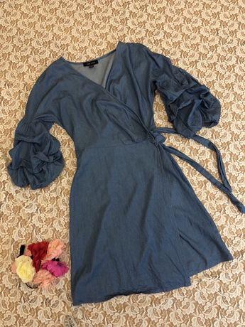 голубое платье на запах с пышными рукавами New Look, S.