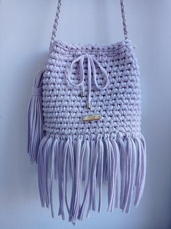 Oryginalna torebka Boho worek z bawełnianej przędzy t-shirt liliowa