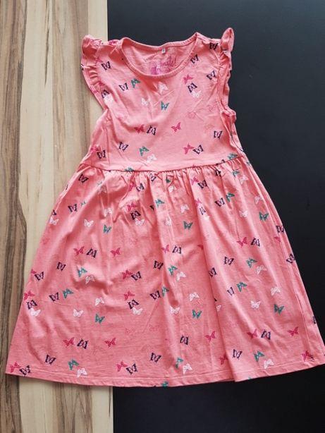 Letnia sukienka z bawełny. Rozmiar 128. Kolor łosoś