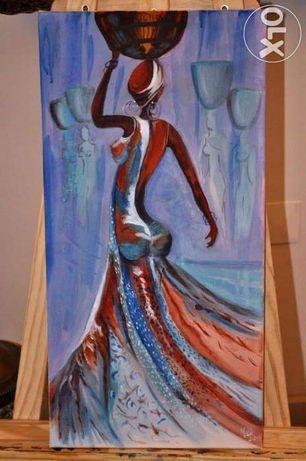 Acrílico sobre tela, 30x60 - Mulheres de África