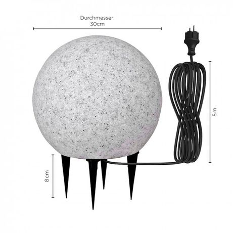 Bestseller KULA ogrodowa 30 cm średnicy 230V E27 lampa LED KIRA granit