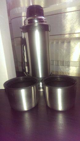 Термос 1 литр, две кружки
