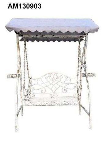 Cadeira baloiço em Metal Branca 213X126X236CM