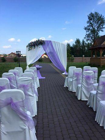 Весільні банти декор крісел фіолетові лаванда свадебный декор