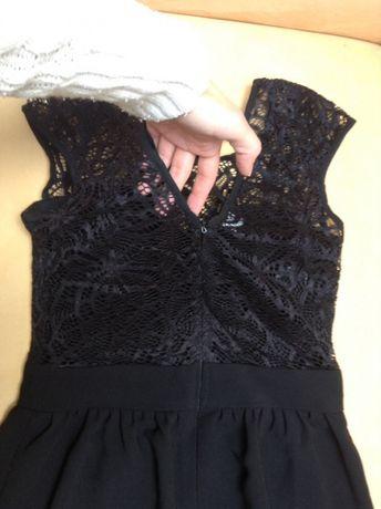 Sukienka wieczorowa długa maxi czarna studniówka bal 34 XS