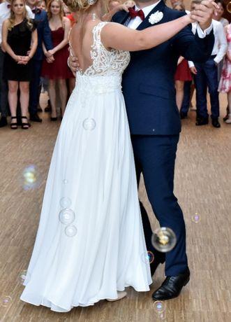 Suknia ślubna_piękna, zwiewna, wygodna - kolor: vanilia_długi welon