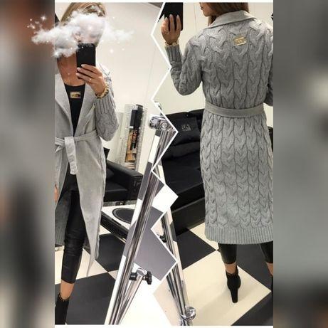 Paparazzi Fashion Płaszcz Premium.  Długi płaszczyk w kolorze szarym.