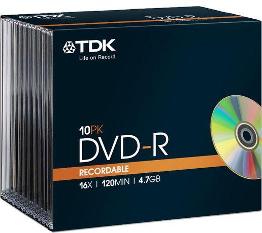 10 czystych płyt TDK DVD-R, o pojemności 4.7GB