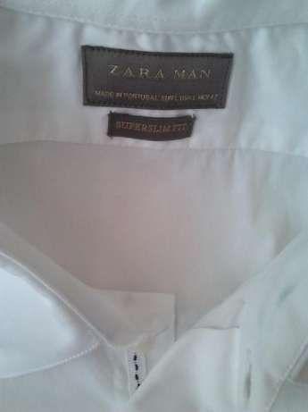 Мужская белая однотонная рубашка ZARA MAN оригинал Португалия ворот 42