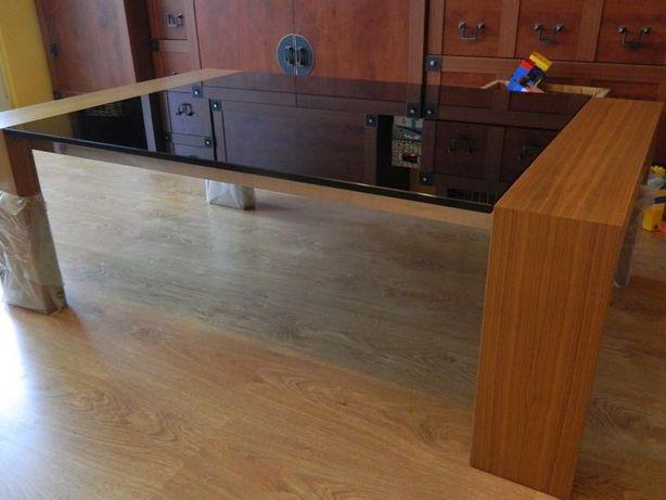 Nowa--=Ława kawowa, stół=--czarne szkło__drewno__REMOVISION