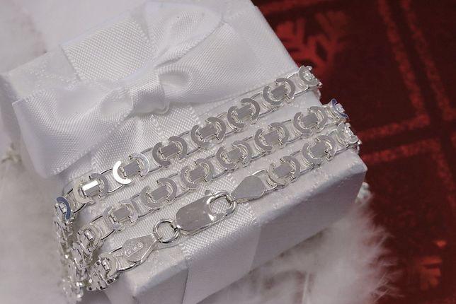 Srebrny łańcuszek splot królewski Jubiler Agapol