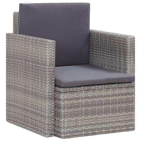 vidaXL Cadeira de jardim com almofadões vime PE cinzento 45781